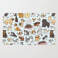 pomeranian Area & Throw Rugs featuring Doggy Doodle by KiraKiraDoodles