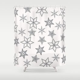Grey Snowflakes On White Background Shower Curtain