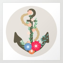 Floral anchor Art Print