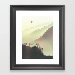 Red sunset in the Japan mountains Framed Art Print