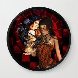 Steampunk lady with clocks and gears Wall Clock