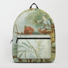 Light Green & Red Chinoiserie Backpack