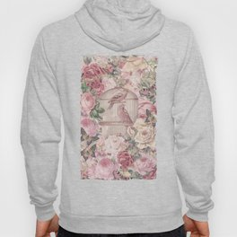 Romantic Flower Pattern And Birdcage Hoody