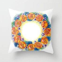 Yellow Water Lilies Throw Pillow