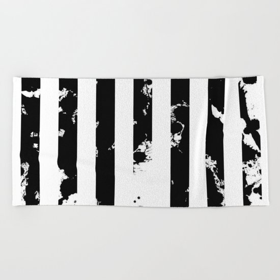 Splatter Bars - Black ink, black paint splats in a stripey stripy pattern Beach Towel
