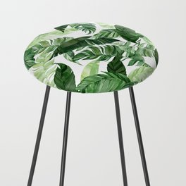 Green leaf watercolor pattern Counter Stool
