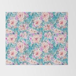 WAHINE WAYS Aqua Tropical Floral Throw Blanket