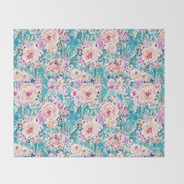 WAHINE WAYS Aqua Tropical Floral Throw Blanket