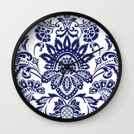 damask blue and white Wall Clock