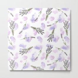 Watercolour Lavender - repeat floral pattern Metal Print