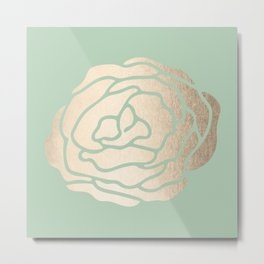 Rose White Gold Sands on Pastel Green Cactus Metal Print