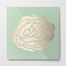 Rose White Gold Sands on Pastel Green Cactus Metal Print