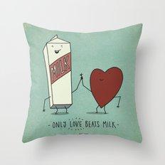 only love beats milk Throw Pillow