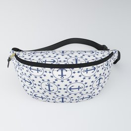 Navy Blue Anchors and Stars Nautical Pattern Fanny Pack