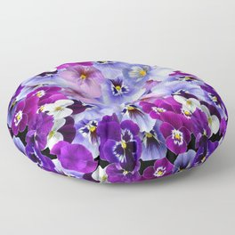 PURPLE-WHITE-PINK PANSY FLOWERS & BLACK Art Floor Pillow
