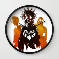 war Wall Clocks featuring WAR by Lukas Stobie