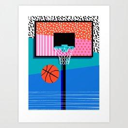 All Day - memphis art print, retro art print, 80s, basketball, basketball art print Art Print