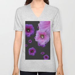 ASYMMETRICAL  PINK-PURPLE  HOLLYHOCKS ON DARK CHARCOAL GREY ART Unisex V-Neck