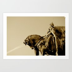 Magyar Chief in the Heroes Square, Budapest.  Art Print