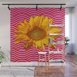 GOLDEN YELLOW SUNFLOWER RED-PURPLE ABSTRACT Wall Mural