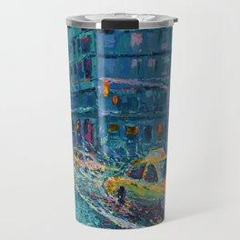 Rainy Day in New York - Palette Knife urban art city landscape by Adriana Dziuba Travel Mug