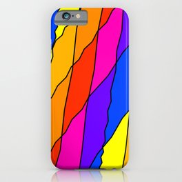 Slanting repetitive lines and rhombuses on bright yellow with intersection of glare. iPhone Case