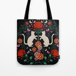cats, butterflies with fireworks flowers Tote Bag