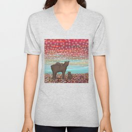 brown bears and stars Unisex V-Neck