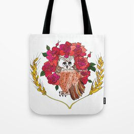 Owl with Rose Halo Tote Bag