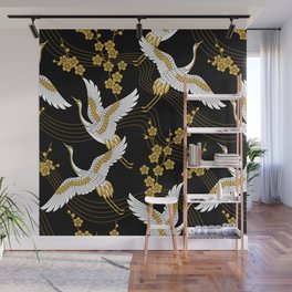 flower bird traditional patterns in japanese design - yellow on black background Wall Mural
