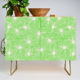 02 White Flowers on Green Credenza