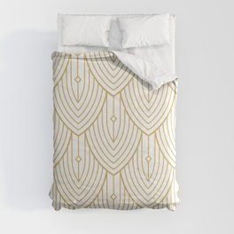 Gold and white art-deco pattern Comforters