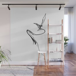 Swallow 1. Black on white background. Wall Mural