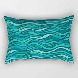 Excellence fantasy hand-drawn vector illustration with waves, hairs, seaweed Rectangular Pillow