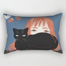 Hiding Behind a Black Cat Rectangular Pillow