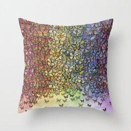 rainbow of butterflies aflutter Throw Pillow