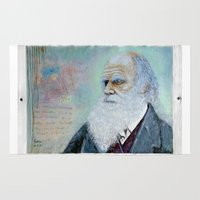 darwin Area & Throw Rugs featuring Charles Darwin by Michael Cu Fua
