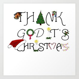 Thank God It's Christmas Consumer Irony Vector Art Print