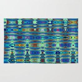 Abstract High Texture Weaving Pattern Blue Green Rug