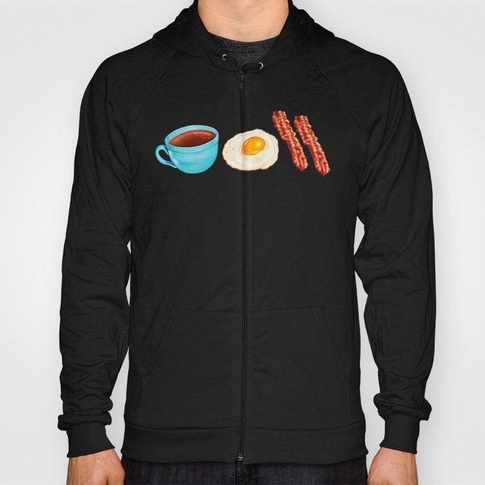 Coffee Bacon & Eggs Pattern - Blue Check Hoody