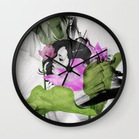 lotus flower Wall Clocks featuring Lotus by SEVENTRAPS
