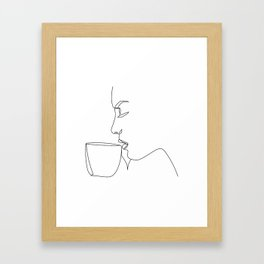 """""""Profile Collection"""" - Woman Drinking Coffee Framed Art Print"""