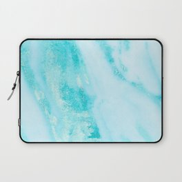 Shimmery Teal Ocean Blue Turquoise Marble Metallic Laptop Sleeve