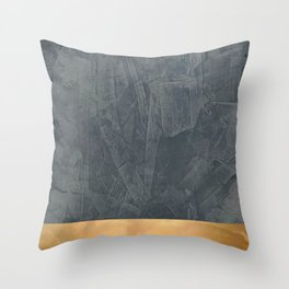 Slate Gray Stucco w Shiny Copper Metallic Trim - Faux Finishes - Rustic Glam - Corbin Henry Throw Pillow