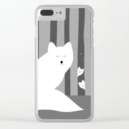 White foxes Clear iPhone Case