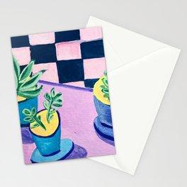 Kitchen Plants, Checker Tiles Stationery Cards