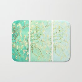 Vincent Van Gogh Almond Blossoms Panel art Aqua Green Bath Mat