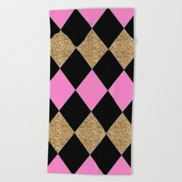 Harlequin Gold Black Pink Beach Towel