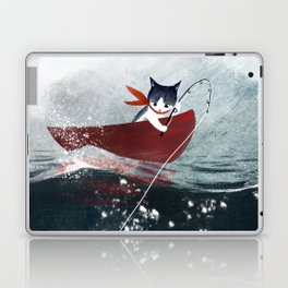 """Catfish"" - cute fantasy cat mermaids illustration Laptop & iPad Skin"