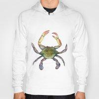 crab Hoodies featuring Crab by Sara Katy